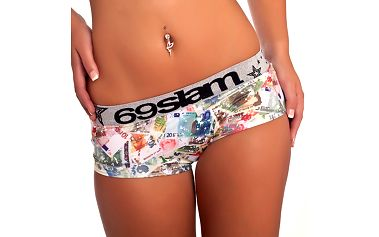 Pohodlné dámské Kalhotky 69Slam Boxer Paper Money se širokou gumou