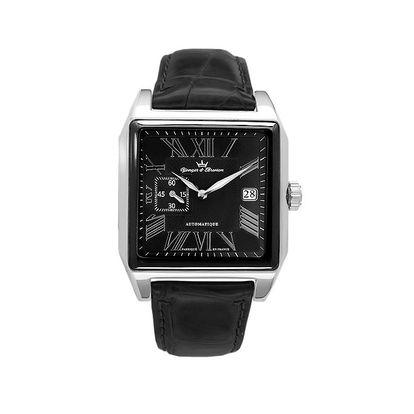 Pánské ocelové čtvercové hodinky Yonger & Bresson s koženým řemínkem