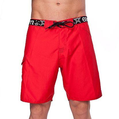 Nepřehlédnutelné ánské Plavky 69Slam Plain Boardshort Red s výraznou gumou a šněrováním