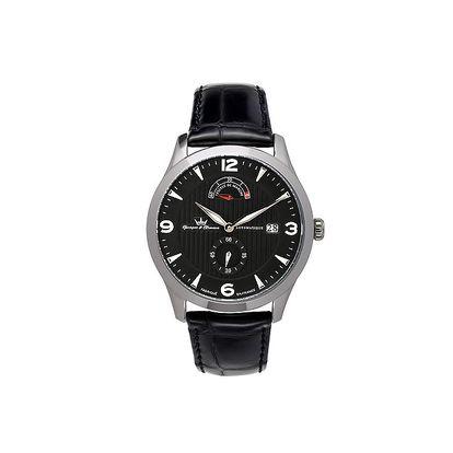Pánské černé hodinky Yonger & Bresson s koženým řemínkem s ocelovým pouzdrem