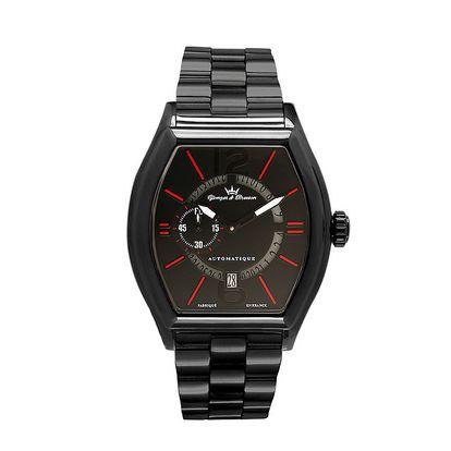 Pánské černé ocelové hodinky s červenými detaily Yonger & Bresson