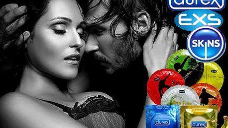 Balení 40 kusů prezervativů Durex, EXS a Skins s dárečky