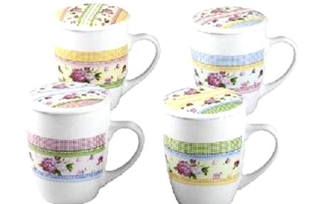 Porcelánový čajový hrnek s víčkem motiv růže, 300 ml, Unipro, sada 4ks