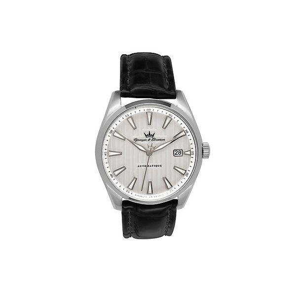 Pánské stříbrné ocelové hodinky Yonger & Bresson s černým řemínkem
