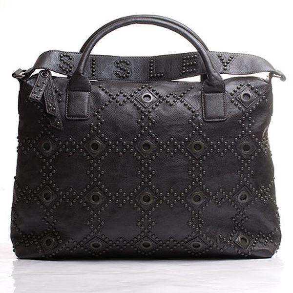Sisley kabelka větší šedá s geometrickým zdobením
