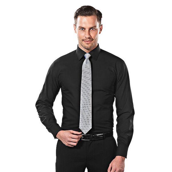 Pánská černá obleková slim-fit košile Vincenzo Boretti