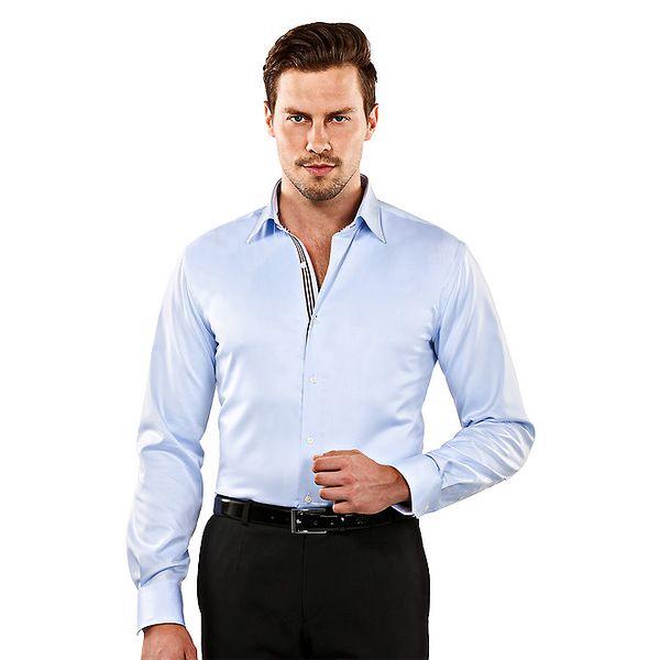 Pánská světle modrá slim-fit košile s hnědými detaily Vincenzo Boretti