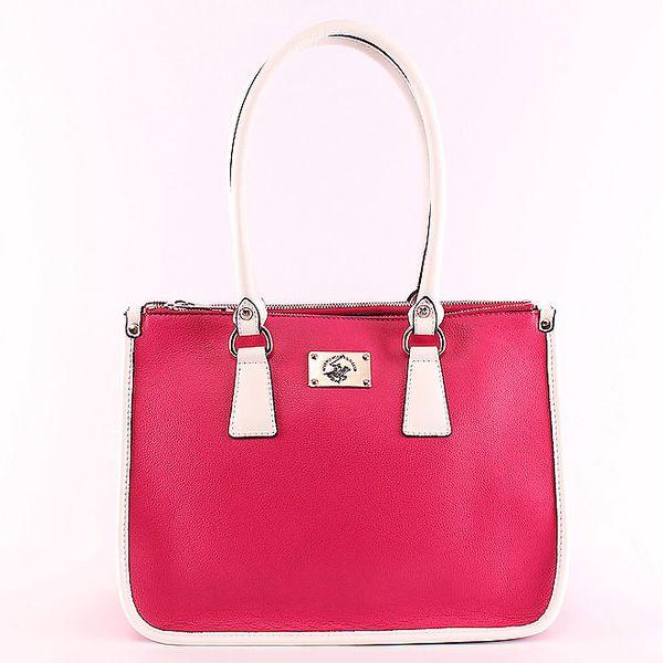 Dámská růžová kabelka s koženými uchy Beverly Hills Polo Club
