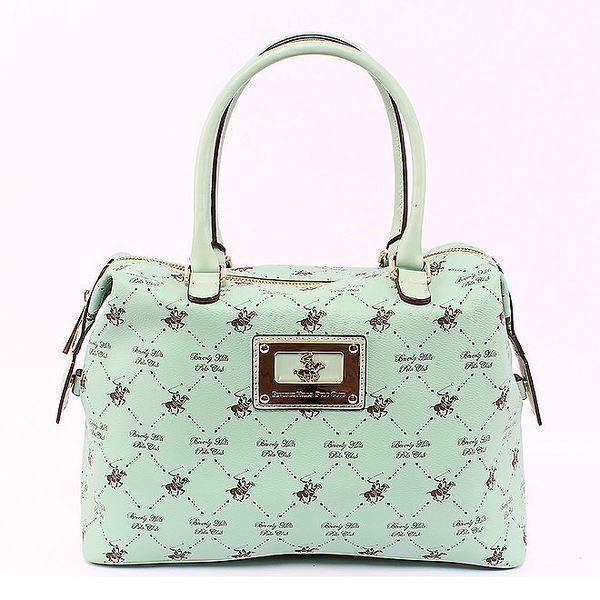 Mátově zelená kabelka s postranní kapsičkou Beverly Hills Polo Club