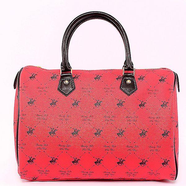 Červená kufříková kabelka Beverly Hills Polo Club