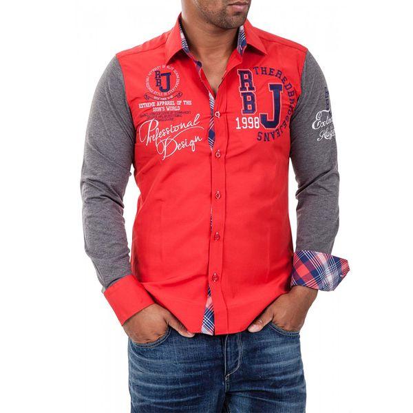 Pánská košile Redbridge červeno-šedá