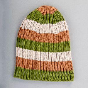 Pletená čepice se širokými pruhy Karpet 5069, oliva-béžová
