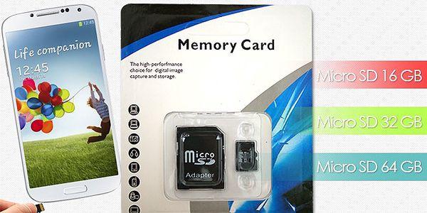 Paměťové micro SD karty o velikostech 16GB, 32GB nebo 64GB