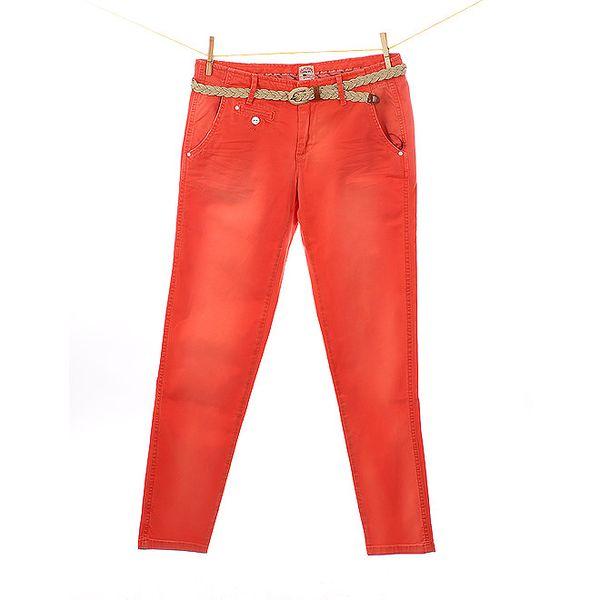 Dámské červené kalhoty Tommy Hilfiger s pleteným páskem