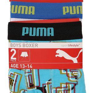 2x Chlapecké boxerky Puma v bílé a modré barvě