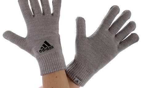 Zimní rukavice Adidas v šedém provedení, zdobené logem Adidas