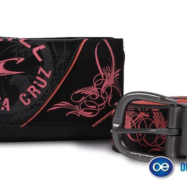 Dámská peněženka + pásek O'Neill s růžovými nápisy O'Neill.