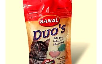 Sanal duo's losos/pstruh, 50g - chutný kvalitní pamlsek pro kočky