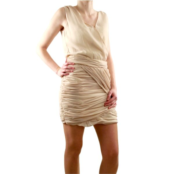 Dámské šaty Lucy Paris béžové nabírané