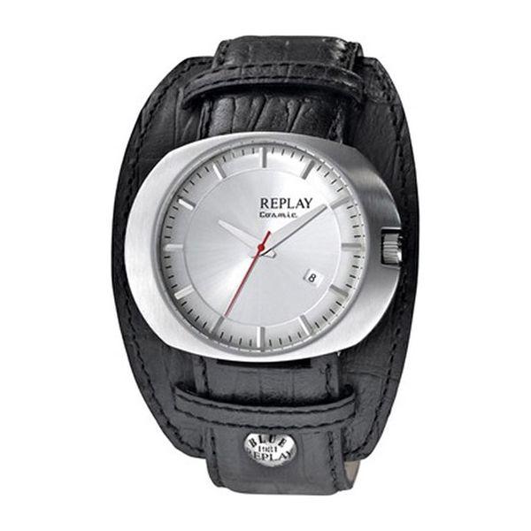 Pánské hodinky Replay stříbrné černý řemínek