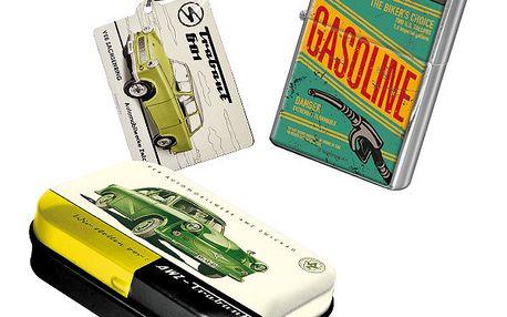 Set Trabant - zapalovač, přívěsek na klíče a krabička na žvýkačky.