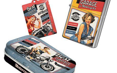 Set Best Garage - zapalovač, přívěsek na klíče a krabička na žvýkačky