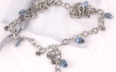 Náhrdelník Crystal - jeans zdobený skleněnými kamínky