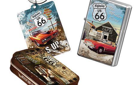 Set Route 66 - zapalovač, přívěsek na klíče a krabička na žvýkačky