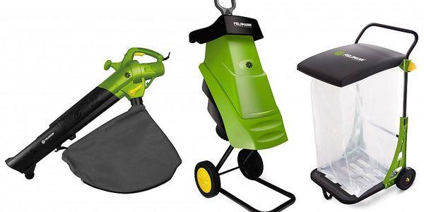 Fieldmann Sada zahradní drtič + vysavač + vozík