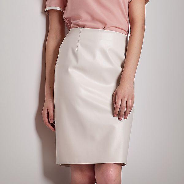 Dámská lesklá krémově bílá pouzdrová sukně Figl