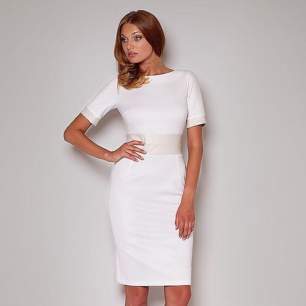 Dámské bílé šaty s lesklým pasem Figl