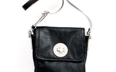 Dámská černá kabelka přes rameno United Colors of Benetton se stříbrným zámkem