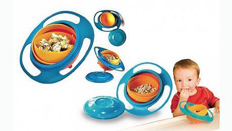 Nepřeklopitelná gyroskopická miska na jídlo pro vaše děti. Už žádné jídlo na zemi či na stole.