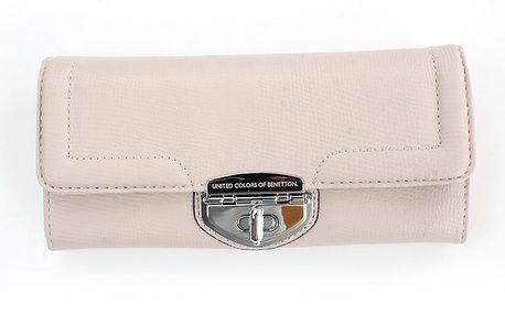 Dámská krémová peněženka United Colors of Benetton se stříbrným zámkem
