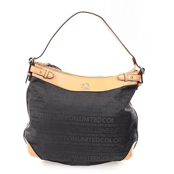 Dámská černo-béžová kabelka United Colors of Benetton s potiskem