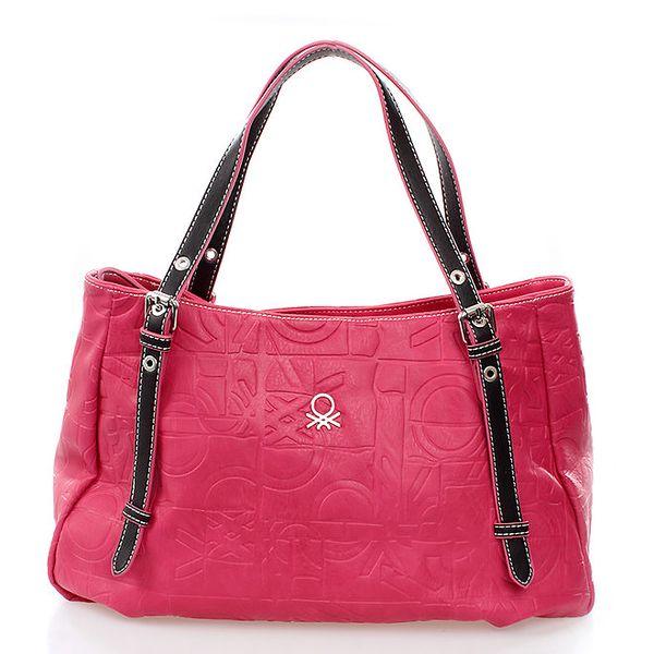 Dámská růžová kabelka s reliéfním vzorkem United Colors of Benetton