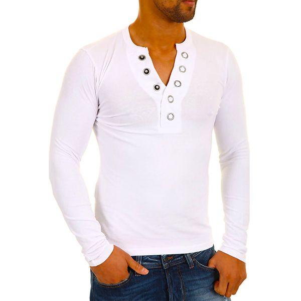 Pánské triko Carisma bílé knoflíky