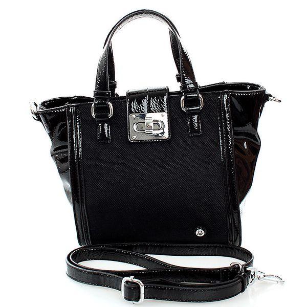 Dámská černá kabelka United Colors of Benetton se stříbrným zámečkem