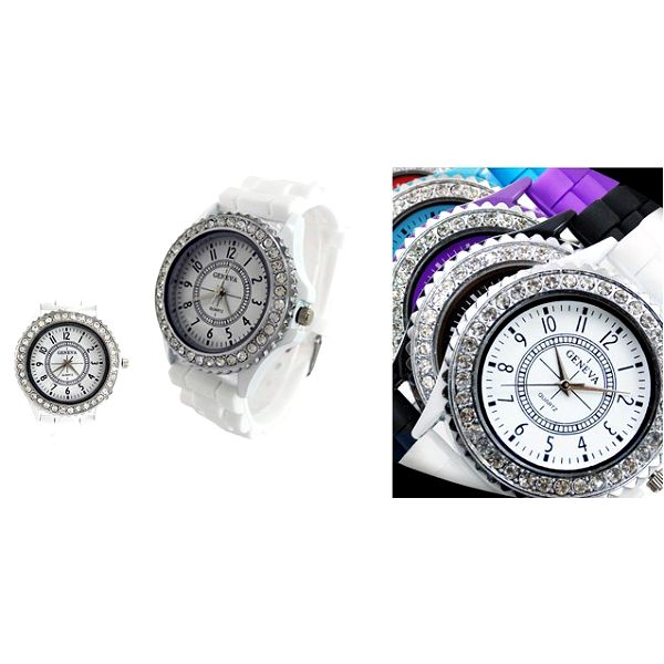 Luxusní hodinky GENAVA ORIGINAL se stříbrnými kamínky z odolného silikonu pro pohodlné nošení a dlouhou životnost!
