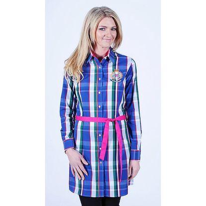Dámské kostkované košilové šaty s růžovým páskem Pontto