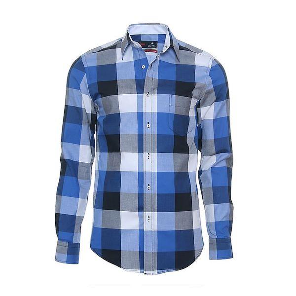 Pánská modrá košile s velkou kostkou Pontto