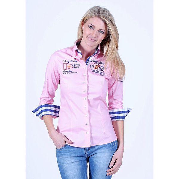 Dámská světle růžová košile s nášivkami Pontto