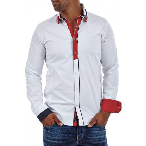 Pánská košile Carisma bílá barevný lem