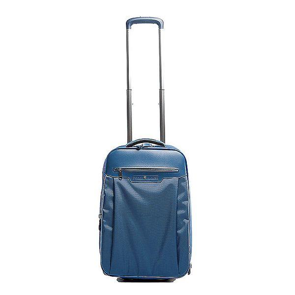 Modrý kufr na kolečkách Tommy Hilfiger s kontrastním vnitřkem