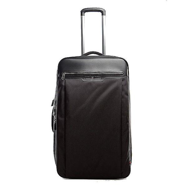 Velký černý kufr na kolečkách Tommy Hilfiger s kontrastním vnitřkem