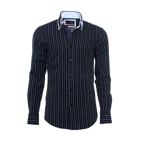 Pánská černá košile s fialovým proužkem Pontto