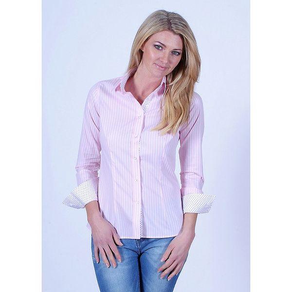 Dámská světle růžová pruhovaná košile Pontto