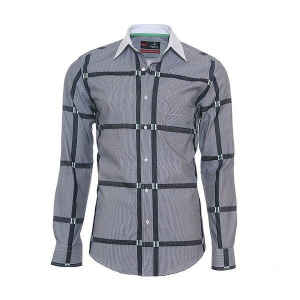 Pánská šedá košile s originálními detaily Pontto