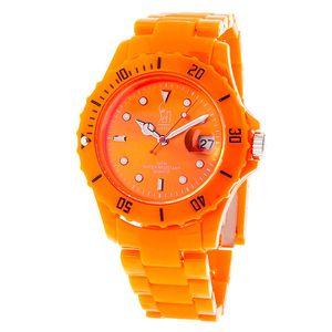 Oranžové analogové hodinky s ocelovým pouzdrem Senwatch