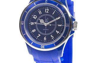 Modré analogové hodinky s luminiscenčními ručičkami Senwatch